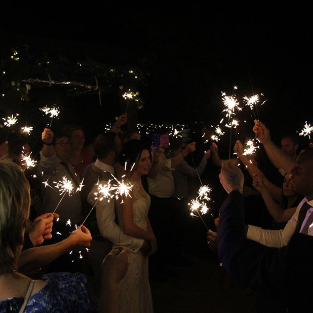 Ali & Lawrence, Hayne House. Bride and groom sparkler exit