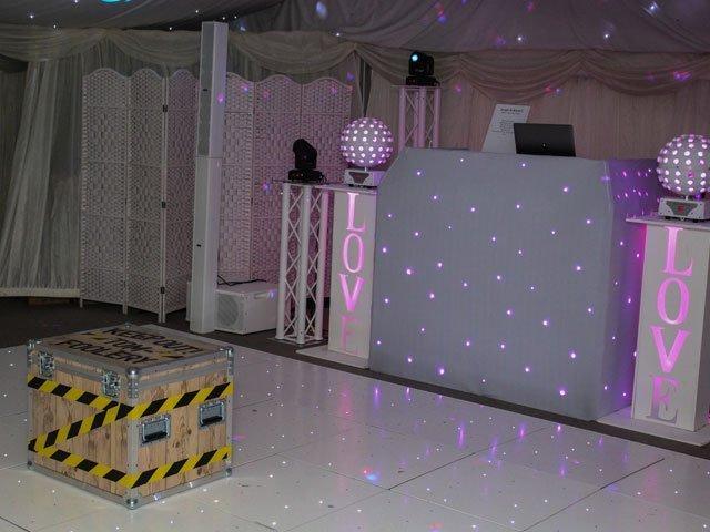 Hayne House Wedding Set Up. Tomfoolery Box and Starlit Dancefloor